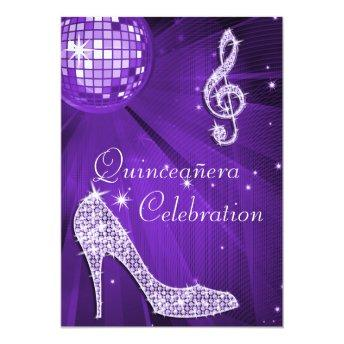 Purple Disco Ball and Sparkle Heels Quinceañera Invitation