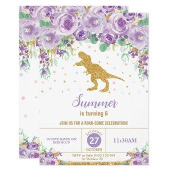 Purple Floral Dinosaur Birthday Party Girl T-Rex Invitation