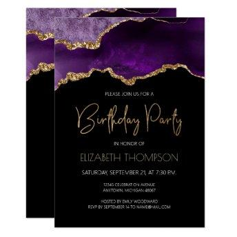 Purple Gilded Agate Geode Any Year Birthday Invitation