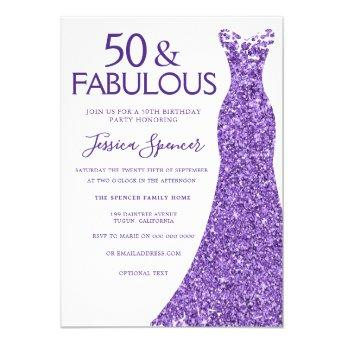 Purple Glitter Dress Womans 50th Birthday Party Invitation