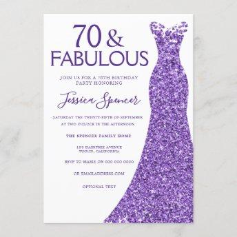 Purple Glitter Dress Womans 70th Birthday Party Invitation