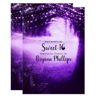Purple Glow Forest & String Lights Sweet 16 Party Invitation