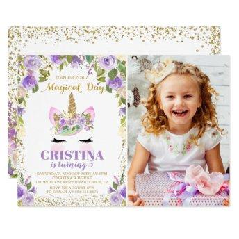 Purple Gold Glitter Unicorn Floral Photo Birthday Invitation