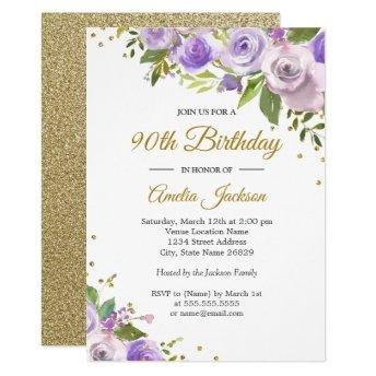 Purple Gold Sparkle Floral 90th Birthday Invite