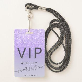 Purple lilac glitter typography Sweet 16 VIP Badge