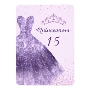 Purple Lilac Quinceanera Party Dress Gown 15th Invitation