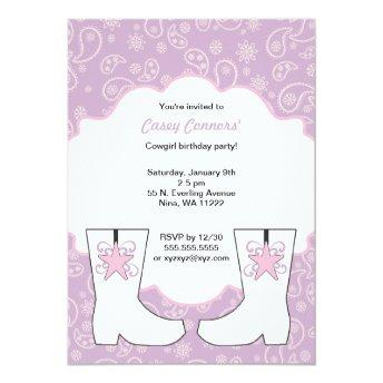 Purple Paisley Cowgirl Boots Birthday Party
