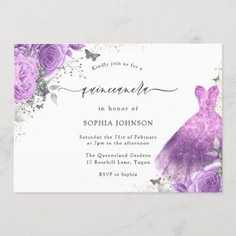 Purple & Silver Dress & Rose Butterfly Quinceanera Invitation