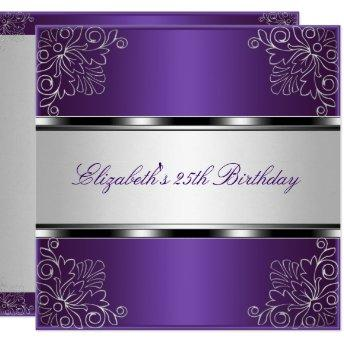 Purple Silver Floral 25th Birthday Party Event