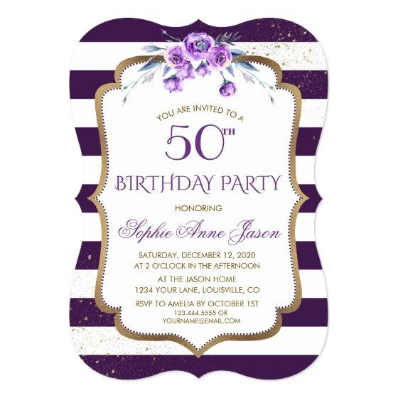 230 Purple Stripes Gold Violet Floral 50th Birthday Invitation