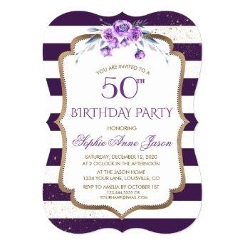 Purple Stripes Gold Violet Floral 50th Birthday