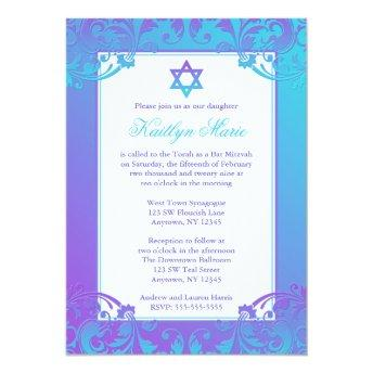 Purple Teal Flourish Bat Mitzvah