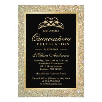 Quinceanera 15th Birthday Gold Glitter Sparkles