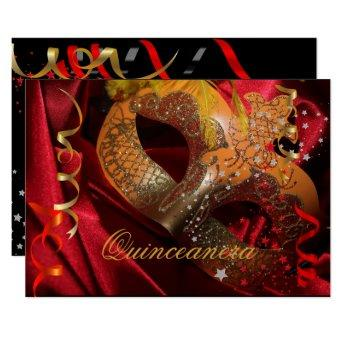 Quinceanera 15th Birthday Party Red Black Mask 3 Invitation
