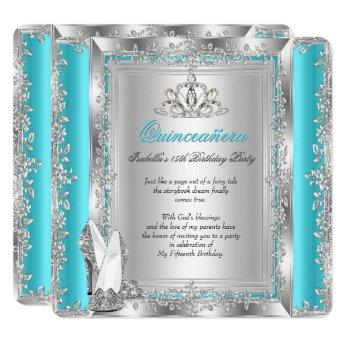 Quinceanera 15th Birthday Party Teal Silver Shoes