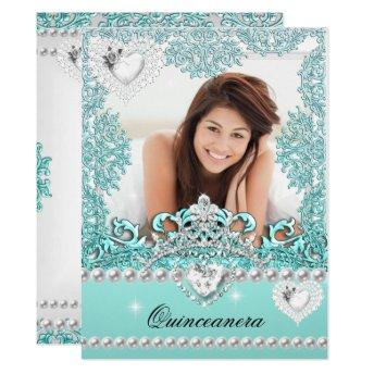 Quinceanera 15th Birthday Teal Blue Silver White