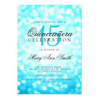 Quinceanera 15th Birthday Turquoise Bokeh Lights