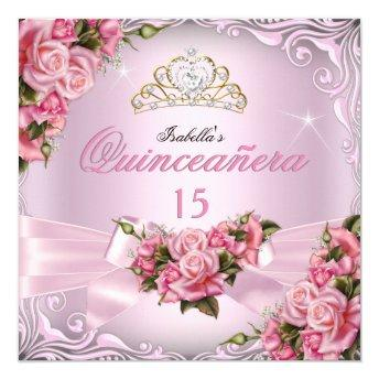 Quinceanera 15th Pretty Pink Roses Tiara Birthday