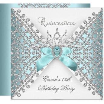 Quinceanera 15th Teal Blue Silver White Diamond