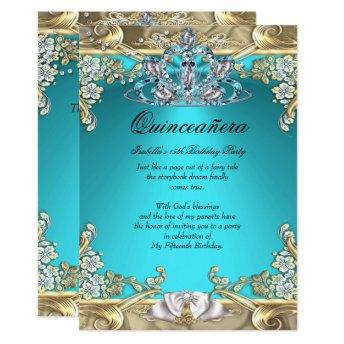 Quinceanera Aqua Teal Gold 15th Birthday Party