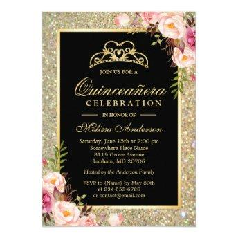 Quinceanera Birthday Floral Gold Glitter Sparkles