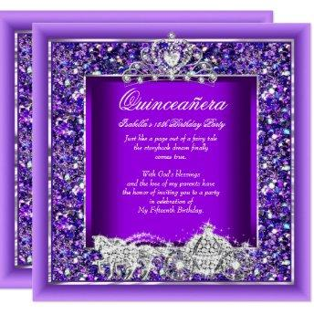 Quinceanera Birthday Horse Carriage Purple