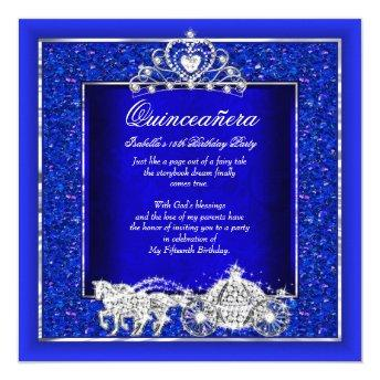 Quinceanera Birthday Horse Carriage Royal Blue
