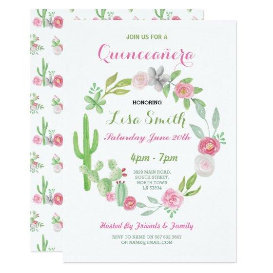 201 Quinceanera Birthday Party Fiesta Cactus Invite 15