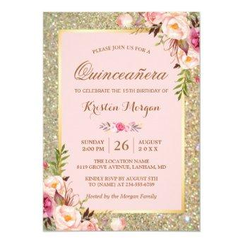 Quinceanera Birthday | Pink Floral Gold Glitters