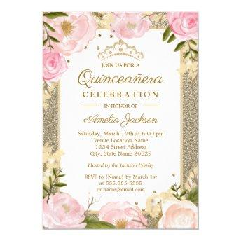 Quinceanera Birthday Sparkle Pink Gold Floral