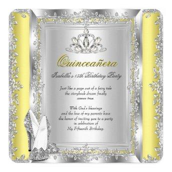 Quinceanera Birthday Yellow Silver Shoes Invitation