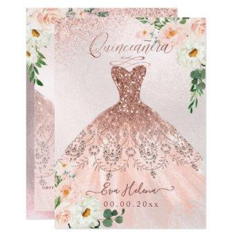 Quinceañera, Blush Floral Sparkle Gown Rose Gold Invitation