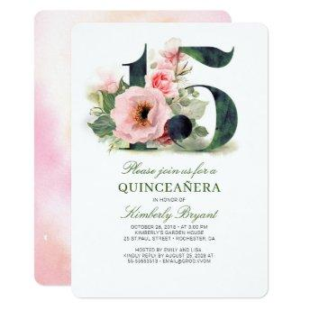 Quinceanera Blush Pink Floral 15th Birthday Invitation
