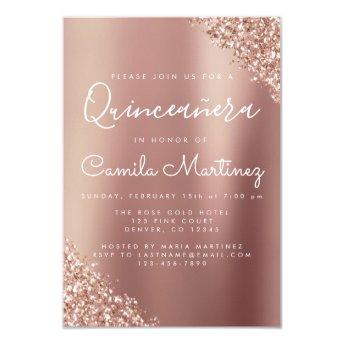 Quinceanera Blush Pink - Rose Gold Glitter Sparkle Invitation
