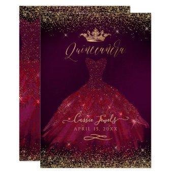 Quinceanera Burgundy Gold Confetti+Princess Crown Invitation