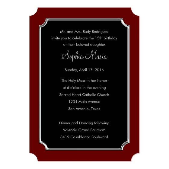 Quinceanera Change Red To Any Color Border Design Invitation