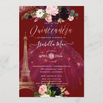 Quinceanera Eiffel Tower, Blush Burgundy Flowers Invitation