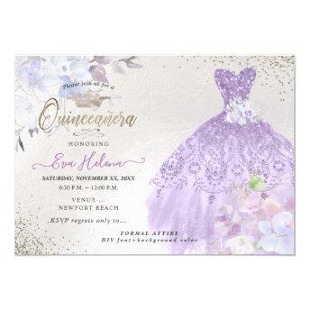 Quinceañera Glitters Gown Dusty Purple Lilac Invitation