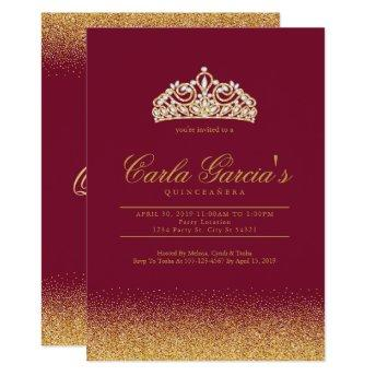 Quinceanera Gold & Sparling Invitation