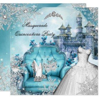 Winter Wonderland Masquerade Party Birthday Party Invitations