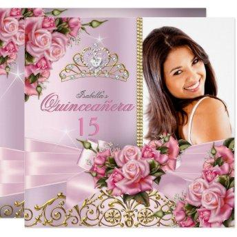 Quinceanera Pretty Pink Roses Tiara Photo Birthday