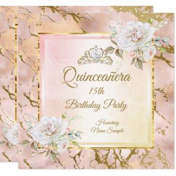 Quinceanera Rose Pink Gold Birthday Party Invite 2