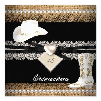Quinceanera Rustic Burlap Cowgirl Hat Boots Party