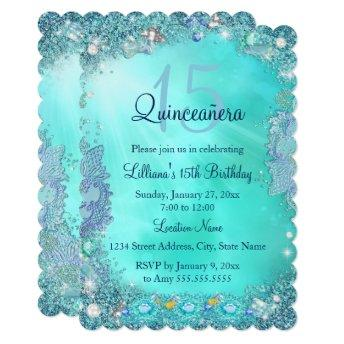 Quinceanera Teal Blue Ocean Jewel Birthday Party
