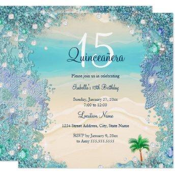 Quinceanera Teal Blue Sand Ocean Beach Birthday 2