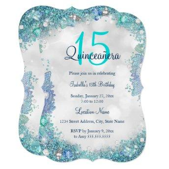 Quinceanera Teal Blue White Ocean Sky Birthday