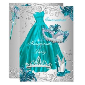 Quinceanera Teal Mask Silver Dress Masquerade Blue