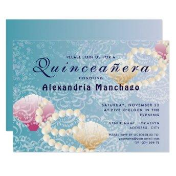 Quinceanera under the sea lace, pearls pink shells invitation