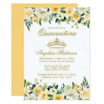 Quinceanera Yellow Gold White Floral Crown Invite