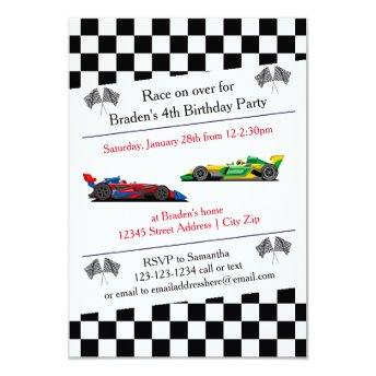 Race Car Birthday Party - 3x5